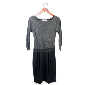 Zara dress color block gray & black career ruched